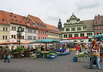 Weimar - Market Square with some 16th-century Renaissance patricians' houses