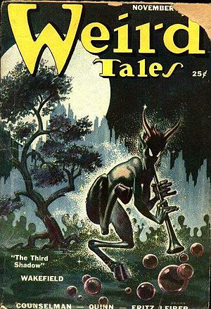 "Frank Kelly Freas - ""The Piper"", illustrating Wakefield's ""The Third Shadow"" for Weird Tales, was Freas's first magazine cover"