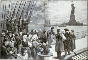 Landmark - The Statue of Liberty, a famous landmark of New York City and United States, greets the newly arrived immigrants, located near Ellis Island where millions of immigrants first touched U.S. soil.