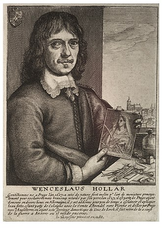 Wenceslaus Hollar - Portrait of Wenceslaus Hollar by Jan Meyssens (with Prague Castle in the background).