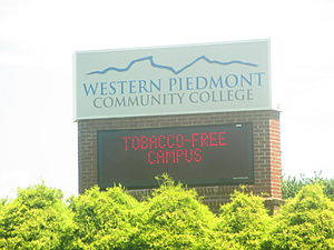 "Western Piedmont Community College - Western Piedmont Community College advertises itself as a ""Tobacco-Free Campus"" within a tobacco-producing state."