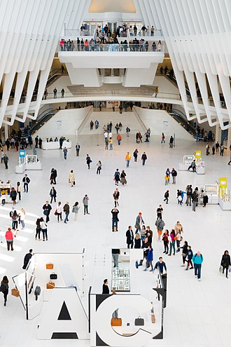 Westfield World Trade Center - View from inside the Oculus in 2017.