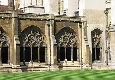The cloister and garth Westminster Abbey cloister.jpg