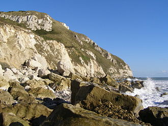 White Nothe - Image: White Nothe headland from the shore below the undercliff