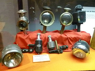 Bicycle lighting - Early bicycle lamps and two early bottle dynamos (1935)
