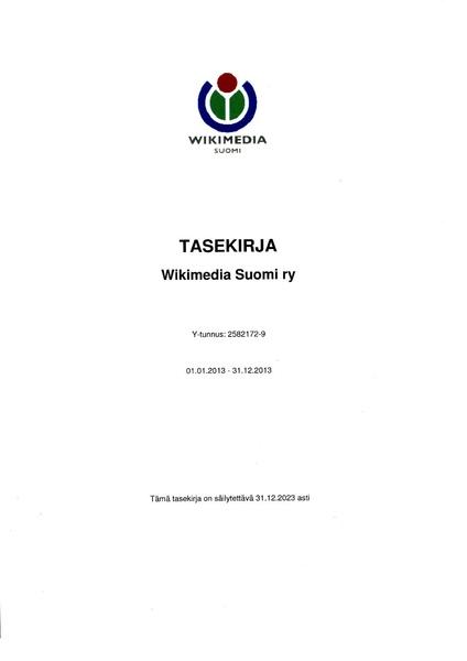File:Wikimedia Suomi, tilinpäätös 2013.pdf