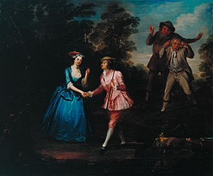 Charlotte Charke - Charlotte Charke, in pink, plays Damon as a breeches role in her father Colley Cibber's pastoral farce Damon and Phillida.