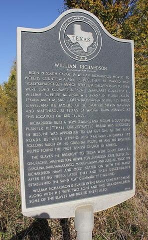 File:William Richardson, Athens, Texas Historical Marker