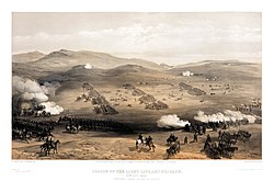 William Simpson - Charge of the light cavalry brigade, 25th Oct. 1854, under Major General the Earl of Cardigan.jpg