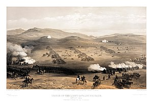 11th Hussars - The charge of the Light Brigade, October 1854; The 11th Hussars were in the second line of cavalry (in the middle of the picture) on the left flank (towards the front of the picture)