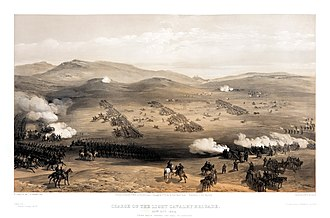 "William Simpson (artist) - ""The Charge of the Light Brigade at Balaklava,"" lithograph from The Seat of the War in the East"