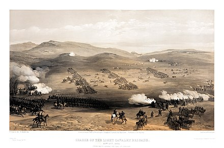 The charge of the Light Brigade, October 1854; The 17th Lancers were in the first line of cavalry (on the left of the picture) on the left flank (towards the front of the picture)