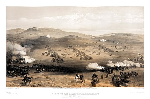 William Simpson - Charge of the light cavalry brigade, 25th Oct. 1854, under Major General the Earl of Cardigan