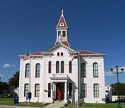 The Wilson County Courthouse in Floresville. The courthouse was added to the National Register of Historic Places on May 5, 1978.