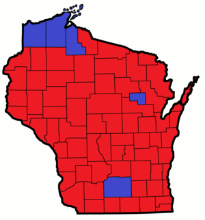 Wisconsin gubernatorial election, 1998 County Results.png