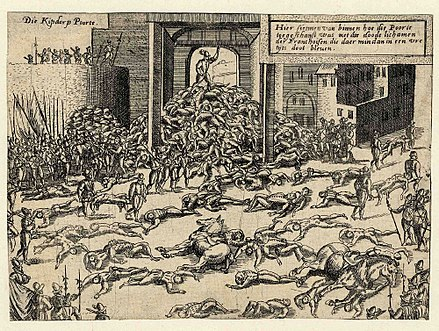 The Sack of Antwerp in 1576, in which about 7,000 people died. Wolf-Dietrich-Klebeband Stadtebilder G 111 III.jpg
