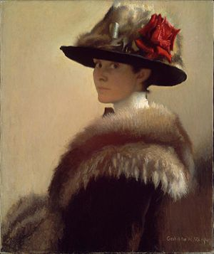 "Boston School (painting) - ""Woman in a Fur Hat"" by Gretchen Woodman Rogers, ca. 1915"