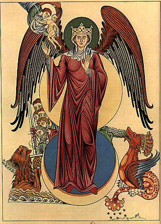Woman of the Apocalypse - An illustration of the woman of the Apocalypse in Hortus deliciarum (redrawing of an illustration dated c. 1180), depicting various events from the narrative in Revelations 12 in a single image.