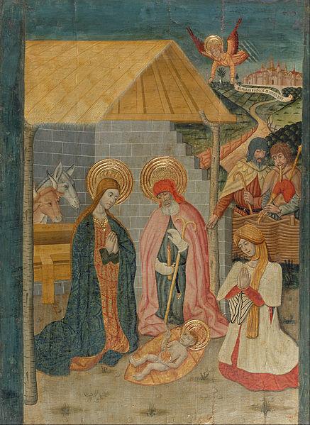 Taula procedent del retaule de la Mare de Déu de l'altar major de l'església parroquial de Nostra Senyora de Baldós de Montanyana (Ribagorça, Osca). Tremp, relleus d'estuc i daurat amb pa d'or sobre fusta.
