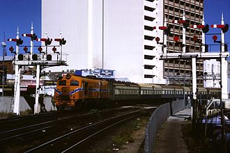 Transwa Australind - The Australind departs Perth in March 1986 hauled by an X class