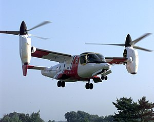 Bell XV-15 - N703NA in Coast Guard colors landing on the lawn of the Pentagon, September 1999