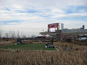 Xfinity Live! Philadelphia - Xfinity Live from the south, with Center City skyline in the background