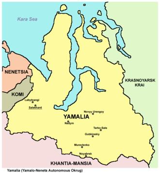 Yamalo-Nenets Autonomous Okrug - Image: Yamalia map