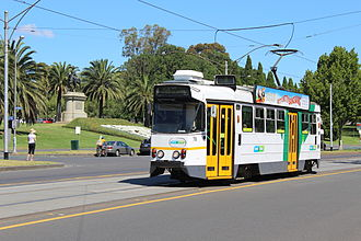 Melbourne tram route 3 - Z1 class tram on St Kilda Road in February 2013