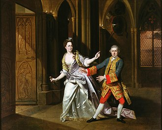 History of theatre - Hannah Pritchard as Lady Macbeth and David Garrick as Macbeth at the Theatre Royal, Drury Lane in April 1768
