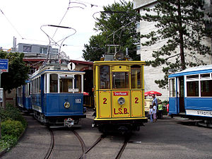 Zürich Tram Museum - Preserved cars outside the Wartau site.