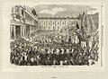 """""""Shrove Tuesday procession of the Fat Ox at the Tuileries, Paris"""". - Le cortège du Boeuf gras, le Mardi-Gras se présente à Napoléon III, à Eugénie et au Prince impérial, qui le regardent du balcon de la Tour de l'Horloge.jpg"""