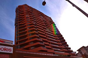Eastgate Bondi Junction - Looking up to the Eastgate apartments from the ground