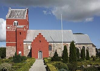 Ålum Runestones - The church at Ålum, Denmark.
