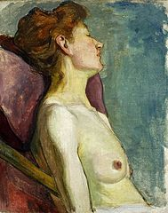 Semi-nude woman sitting.