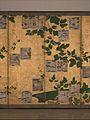 伝近衛信尋書・伝長谷川宗也絵 葛下絵色紙貼付『和漢朗詠集』屏風-Anthology of Japanese and Chinese Poems (Wakan rōeishū) with Underpainting of Arrowroot Vines MET DP262120.jpg