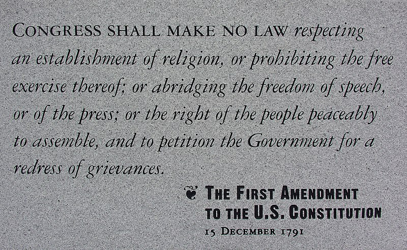 "File:保障言論自由的美國憲法第一修正案紀念碑 ""The First Amendment to The U.S. Constitution"" Monument in Independence National Historic Park in Philadelphia, Pennsylvania,.jpg"