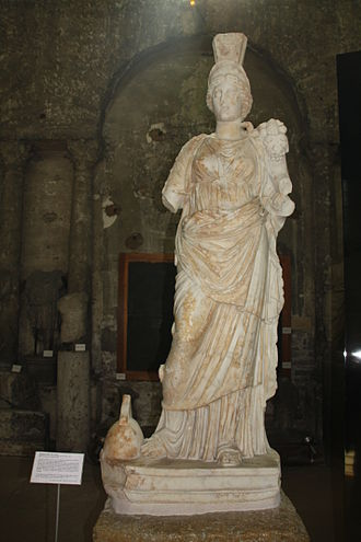 Tutela - Gallo-Roman statue of Tutela with attributes of Fortuna (from Vienne, Isère)