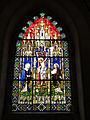 098 Castell de Santa Florentina (Canet de Mar), saló del tron, vitrall de la Crucifixió.JPG