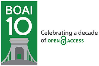 Budapest Open Access Initiative - A logo celebrating the 10th anniversary of the Budapest Open Access Initiative in 2012, featuring the Széchenyi Chain Bridge in Budapest.