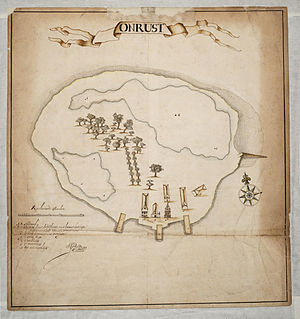 Thousand Islands (Indonesia) - Map of Onrust Island (1650)