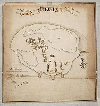 Thousand Islands (Indonesia) - Map of Onrust Island (1650)