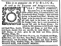 1747 GoldRing advertisement in General Advertiser London 2April.png