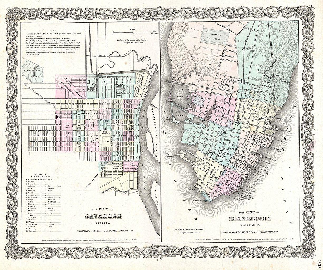 File 1855 Colton Plan Or Map Of Charleston South Carolina And Savannah Georgia Geographicus Charlestonsavannah Colton 1855 Jpg Wikimedia Commons