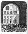 1865-08-20, El Museo Universal, Entrada del cadáver del infante don Francisco en el patio de los Reyes del monasterio de San Lorenzo.jpg
