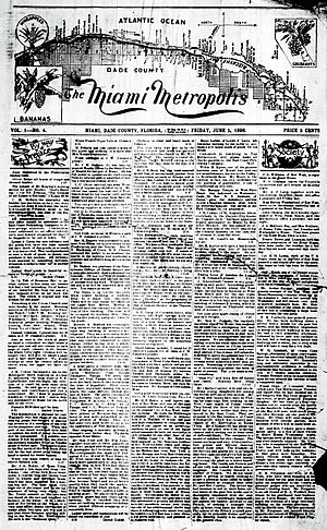 Media in Miami - Image: 1896 Miami Metropolis 5 June