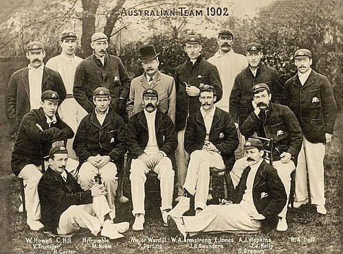 Trumble (third from left in the back row) with the 1902 Australian touring team, widely recognised as one of the strongest ever to represent Australia. 1902AusTeam.jpg
