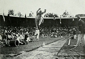 Athletics at the 1912 Summer Olympics – Men's long jump - And the bronze medalist Georg Åberg in action.