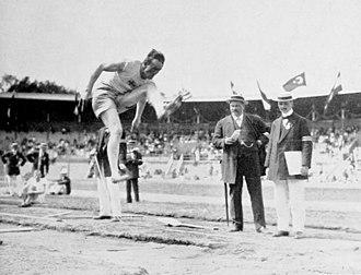 Athletics at the 1912 Summer Olympics – Men's decathlon - Hugo Wieslander in long jump.