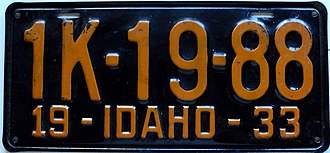 Vehicle registration plates of Idaho - Image: 1933 Idaho license plate