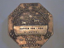 "Royal Easter Show Medal ""Cattle Dog"" awarded to A. Bevis, 1941"